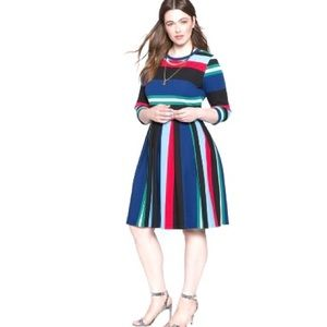 Eloquii striped fit and flare dress